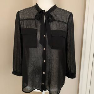 Neck bow tie sparkly button down blouse Bebe